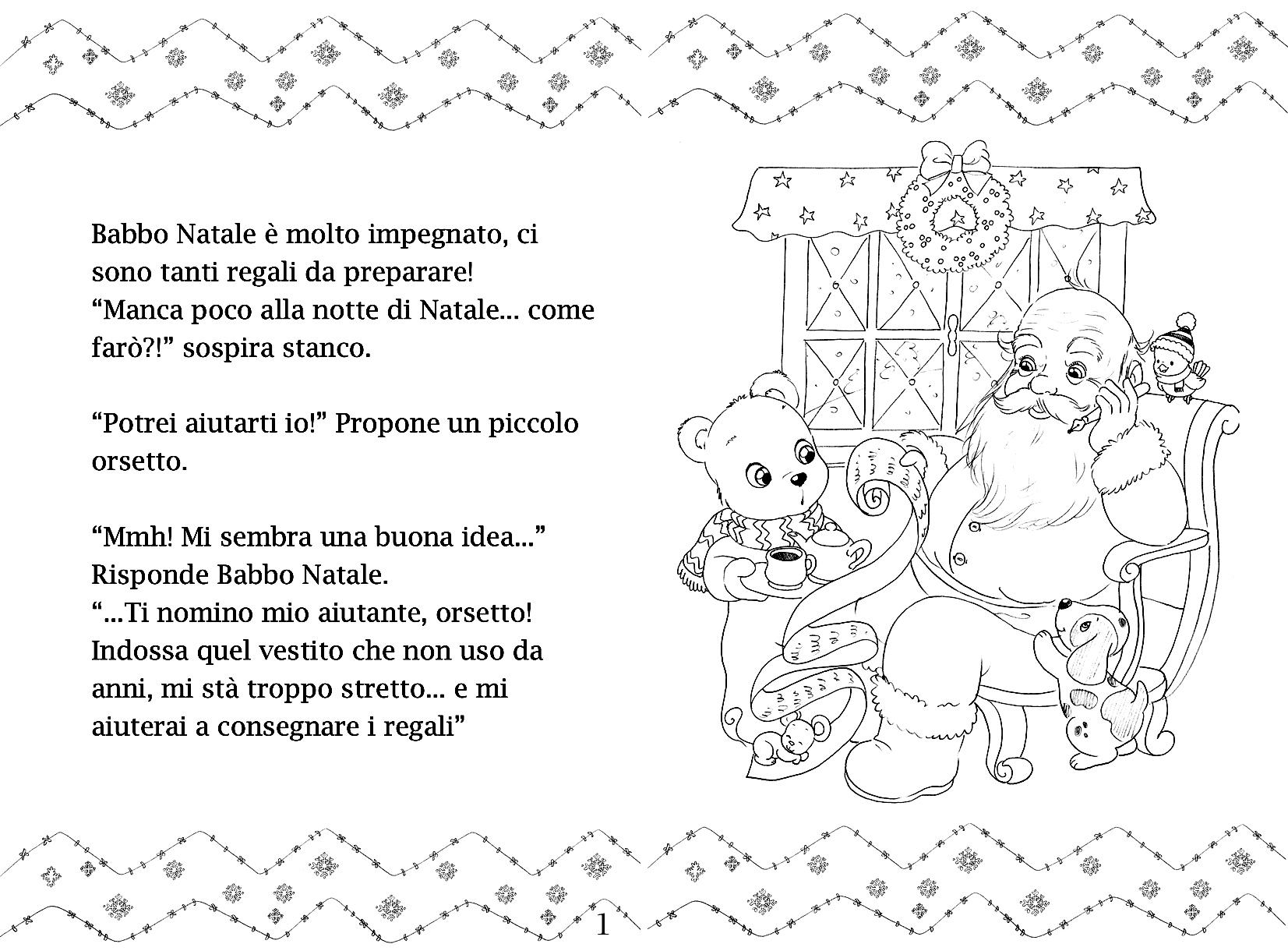 La Storia Babbo Natale.Una Storia Di Natale Da Colorare Orsetto Babbo Natale Le