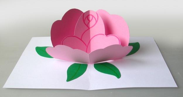 biglietto pop-up rosa