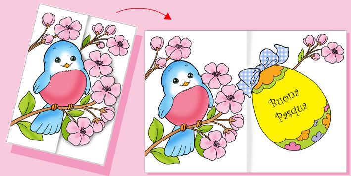Super Biglietto d'auguri di Pasqua, l'uccellino tra i fiori di pesco  UU93