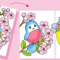 Biglietto d'auguri di Pasqua, l'uccellino tra i fiori di pesco