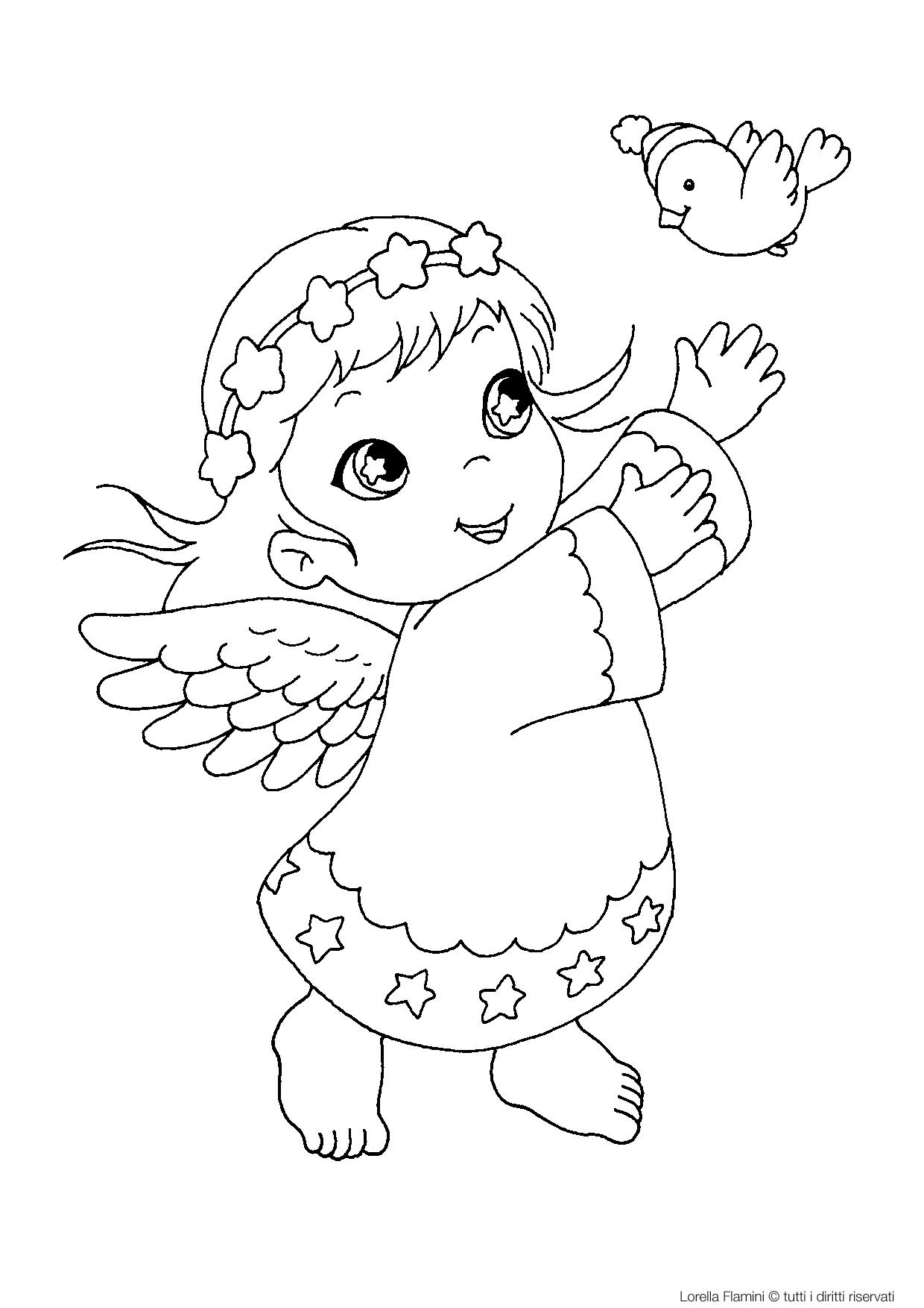 10 disegni di bambini che fanno movimento da colorare for Immagini angeli da colorare