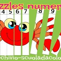 Puzzles numerati da colorare
