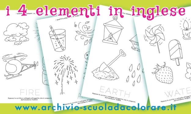 I 4 Elementi In Lingua Inglese Da Colorare Le News Di Scuola Da