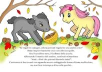 disegno della storia d'autunno dell'unicorno e i colori, scena del cavallino cattivo che ruba le castagne