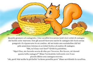 disegno di scoiattolo con cestino di castagne