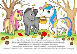 disegno dell'unicorno con gli amici cavallini nel bosco a raccogliere castagne