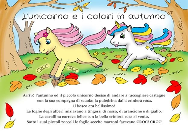 storia d'autunno con unicorno e cavallina che corrono nel bosco
